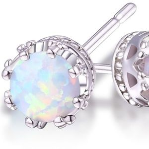 Jewelry - 18K White Gold Plated White Opal 7mm Stud Earrings